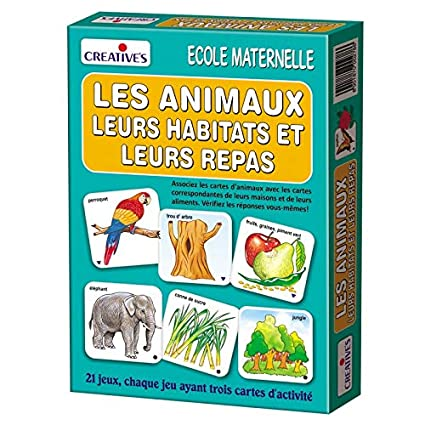 StonKraft Animals - Their Homes & Food (French) | Learn French | Learning Games | Educational Games & Toys | Matching Games for Kids & Toddlers