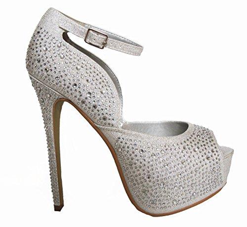 XINJING-S Silber Strass Peep Toe versteckte Plattform Braut Hochzeit Heels Pumps Schuhe ,6