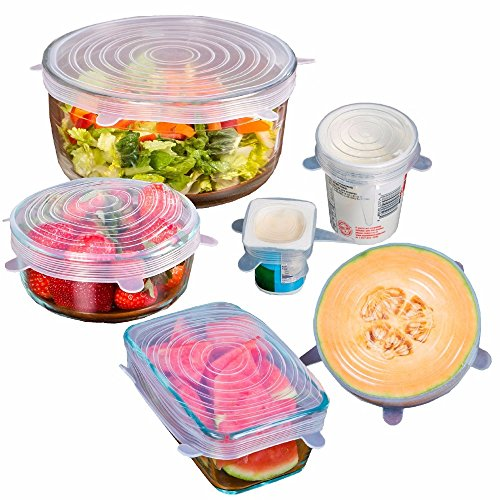 SILICONE STRETCH LIDS (6pcs pack) and GARLIC PEELER -Premium Quality- BPA FREE, FDA Approved, DishWasher and Owen Safe - KEEPS YOUR FOOD COVERED