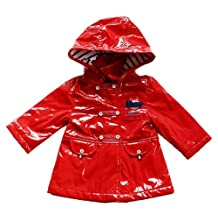 Infant Baby Girls Faux Leather Red Trench Coat Jacket 18Month