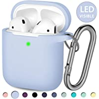 Hamile Compatible with AirPods Case [Front LED Visible] Soft Silicone Protective Cases Cover Skin Designed for Apple AirPod 2 & 1, Women Men, with Keychain (Lilac)
