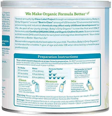 Baby's Only Dairy With DHA Toddler Formula - Non GMO, USDA Organic, Clean Label Project Verified, Value Size (Single Can), 27.5 Oz
