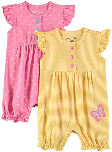 (Wan-A-Beez Baby Girls' 2 Pack Graphic Short Sleeve Romper (Pink Butterfly, 6-9 Months))