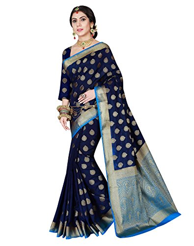 Viva N Diva Women's Navy Blue Color Banarasi silk saree With Unstitched Blouse Piece,Navy Blue,Free (Blue Silk Sari Saree)
