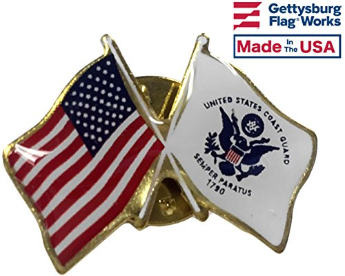 Coast Guard Flag and American Flag Lapel Pin, Made in (Guard Lapel Pin)