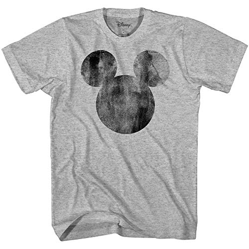 Disney Mickey Mouse Distressed Head Vintage Silhouette Men's Adult Graphic Tee T-Shirt(Heather Grey,Large) ()