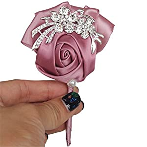 MOJUN Wedding Brooch Groom Boutonniere Crystal Rhinestone Boutineer Prom Suit Decoration 19