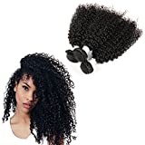 3 Bundles Brazilian Afro Kinky Curly Weave Virgin Remy Human Hair Extensions 20'' 22'' 24'' inches,#1B Nature Black No Shedding Tangle Free