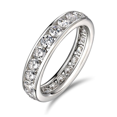 White Gold Eternity Prong (Lourve 14k White Gold 925 Sterling Silver Engagement Rings For Women Round Cut CZ Simulated Diamond Channel White Eternity Band (6.5, cubic-zirconia))