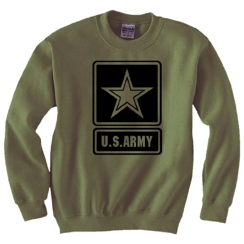Logo Crewneck Sweatshirt in Military Green - X-Large (Army Star Sweatshirt)
