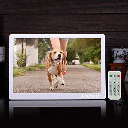 Andoer® Marco de fotos digital led de 15,6 pulgadas y alta resolución de 1280 x 800 píxeles, con despertador, reproductor MP3 y MP4, mando a distancia, ...
