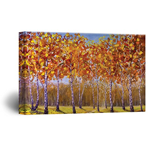 Abstract Trees with Yellow Leaves in Forest Gallery