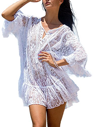 a429b531b39 PERSUN Womens Beach Cover up Suit Bikini Swimsuit Swimwear Crochet Dress