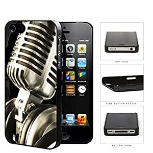 Classic Vintage Microphone And Headphones Hard Plastic Snap On Cell Phone Case Apple iPhone 4 4s