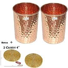 Set of 2 - Prisha India Craft ® Copper Cup Water Tumbler - Handmade Water Glasses - Traveller's Copper Mug for Ayurveda Benefits - CHRISTMAS GIFT ITEM