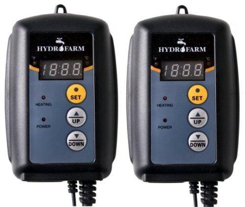 (2) HYDROFARM Hydroponic Seed Heat Mat Digital Temperature Controllers | MTPRTC by Hydrofarm by Hydrofarm