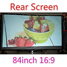 Rear Projection Film, Finished Edge Projector Screen with Grommets, Translucent, Gray (16:9 72-300 inch) (84 inch 197x108cm)