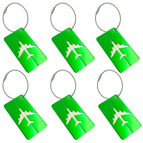Metal Luggage Tags Green Baggage Suitcases Travel Labels Plane Shape, 6 Pack By V-story ()