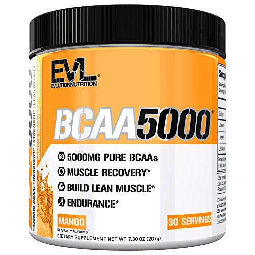 Evlution Nutrition BCAA5000 Powder 5 Grams of Branched Chain Amino Acids (BCAAs) Essential for Performance, Recovery, Endurance, Muscle Building, Keto Friendly, No Sugar (30 Servings, Mango)