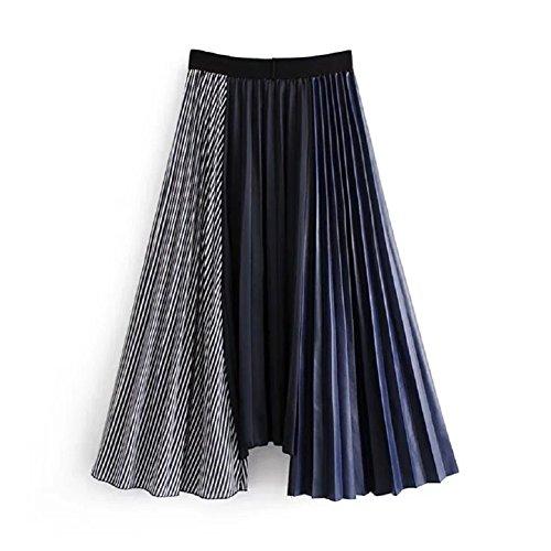FuweiEncore Dames A-Ligne Stripe Patchwork Jupe Plisse Femmes Taille Haute Jupe mi-Longue Swing Maxi Bleu