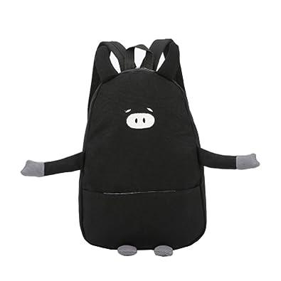 1822fc78ec erthome Women Girl Canvas Piggy Print Cute School Bag Travel Backpack Bag  Lovely (Black)