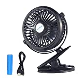 Kobwa [Upgrade Version]Mini USB Clip on Desk Fan ,360 Degree Rotating Rechargeable Low Noise with 3 Speed Adjustment Fan for Home Office Baby Stroller Car Camping Tent Dorm Rooms(Black)
