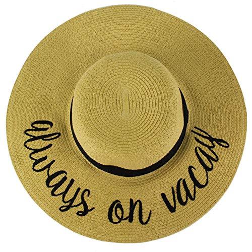 C.C Always on Vacay Wide Brim 4\ Summer Derby Beach Pool Floppy Dress Sun Hat