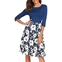 Misakia Women's Long Sleeve Round Neck Slim Fit Dress Floral Printed Casual Midi Dress