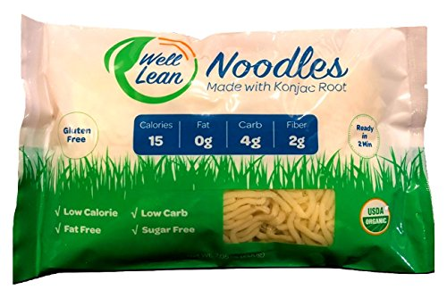 Organic Well Lean Noodles (6 Pack/42.3 oz) - Premium Shirataki [Ready to Eat, No Boiling, ODOR FREE, TASTY] - LOW CALORIE, LOW CARB - Gluten Free, Vegan - Premium Konjac Pasta