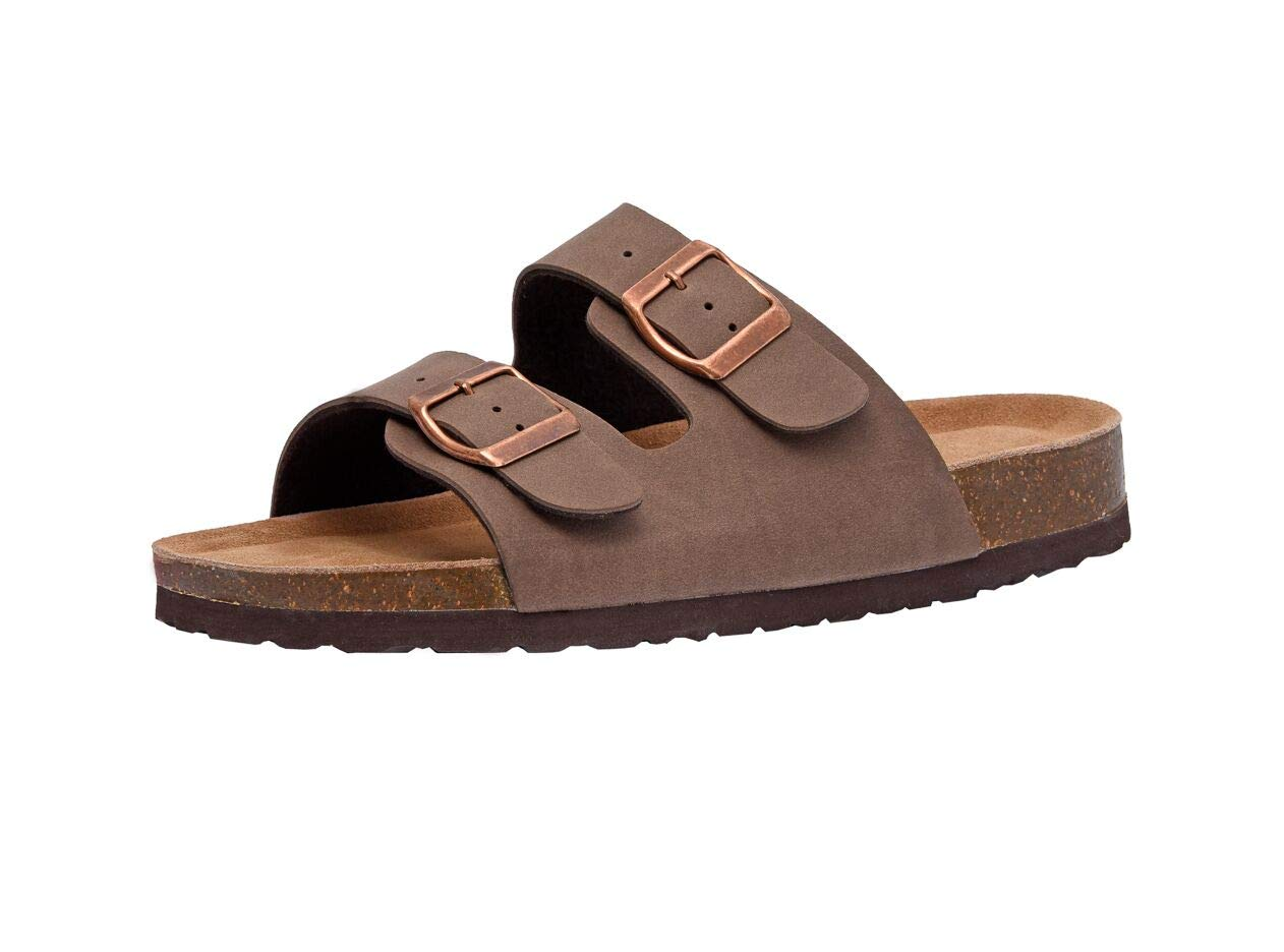 CUSHIONAIRE Women's, Lane Slide Sandals Brown 8 M by CUSHIONAIRE
