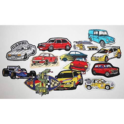 Sizes Clearance Tombola 148 13 x Sew-On Patches Set Car Cars Versch
