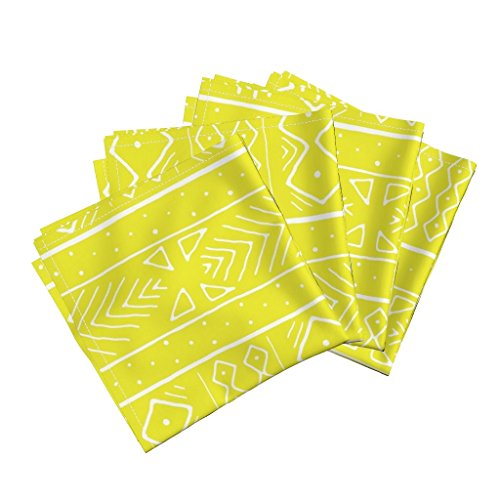 Roostery African mudcloth Organic Sateen Dinner Napkins Chartreuse Afrocentric Lime Green Mudcloth Tribal Inspired0 by Domesticate Set of 4 Dinner Napkins