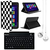 VanGoddy Mary 2.0 Standing Portfolio Case for Double Power Dopo DPM1081 10.1 inch Tablet with Bluetooth Keyboard & White Headphones, Checker