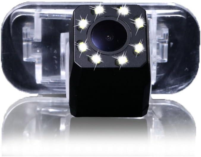 Dynavsal 8 LED Noche Visi/ón HD CCD C/ámara de Marcha Atr/ás de Coche 170 /° Gran Angular Impermeable Placa de Licencia C/ámaras de Visi/ón Trasera para Coche Mercedes B200 A Class W169 B Klasse T245 Car
