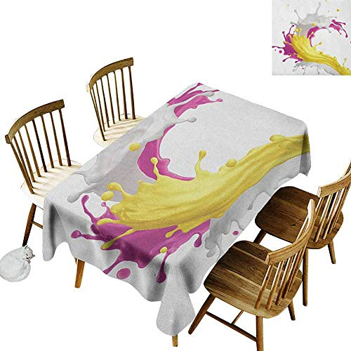 Reflections Tabletop Fountain - DONEECKL Colorful Waterproof Tablecloth Polyester Tablecloth Mixed Fruit Drink Splash Photo Strawberry Banana Milk Sweet Fountain Pink Yellow and White W60 xL84