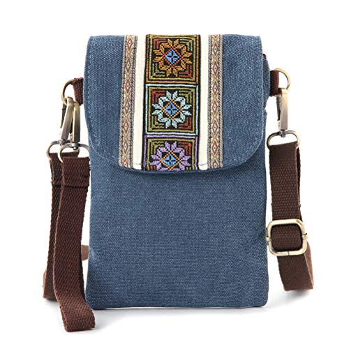 Vintage Embroidered Canvas Small Flip Crossbody Bag Cell Phone Pouch for Women Wristlet Wallet Bag Coin Purse (Navy blue 03)