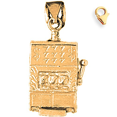 Jewels Obsession Slot Machine Charm | 14K Yellow Gold Slot Machine Charm Pendant - 29mm