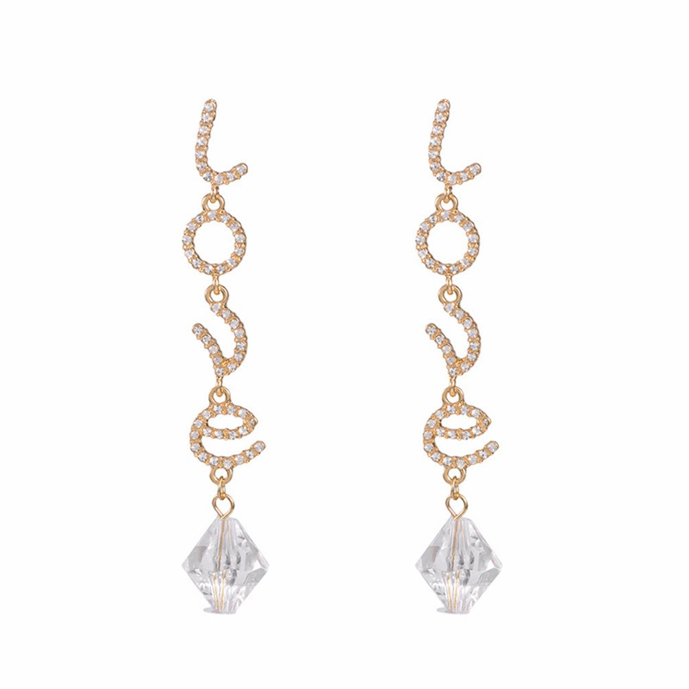 925 Sterling Silver Plated Love Crystal Leaf Tassel Pearl Earrings Gift For Women (H)