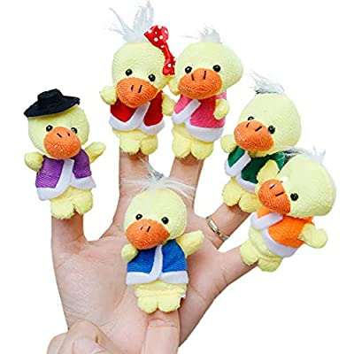 Xeagt 6Pcs Cute Cartoon Yellow Ducks Doll Kids Glove Hand Puppet Plush Finger Toys Children's Educational Toys: Home & Kitchen