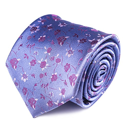 Qobod business gifts Necktie Handmade Tie Mens Gift Box long lilac floral jacquard