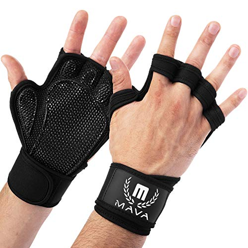 Mava Sports Ventilated Workout Gloves with Integrated Wrist Wraps and Full Palm Silicone Padding. Extra Grip & No Calluses. Perfect for Weight Lifting, Powerlifting, Pull Ups, Cross Training, WODs