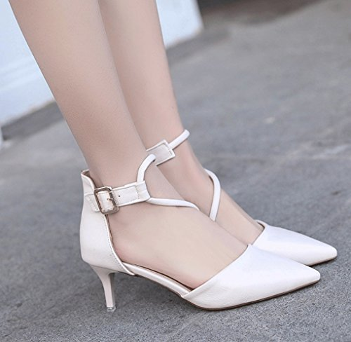 Heel Oblicuo LBDX Pointed Thin Spring Charol Tacones Altos Blanco Band wxxqCS