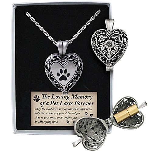 Pewter and Brass Cremation Heart Pendant Necklace - Pets (Urn Pewter Pendant)