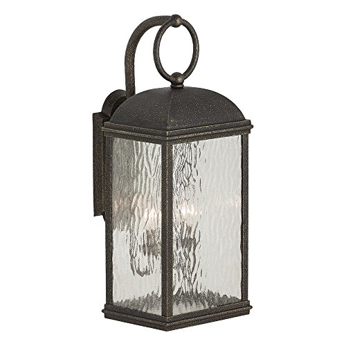 Sea Gull Lighting 88192-802 Branford Two-Light Outdoor Wall Lantern with Seeded Water Glass Panels, Obsidian Mist Finish - Obsidian Mist