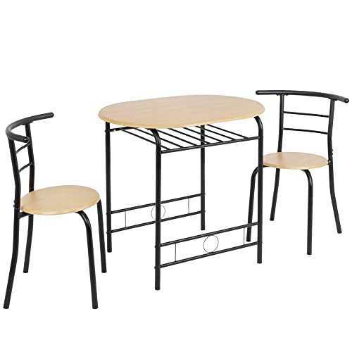 Bonnlo 3 Piece Dining Table Set Breakfast Bistro Pub Table with 2 Chairs Compact Size Table and 2 Chairs Natural