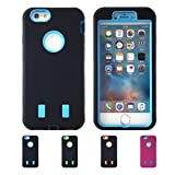 iPhone 6S, 6 Case, HLCT Rugged Heavy Duty Shockproof Protective Case PC Dual Layer Armor Rubber Cover Case for Apple iPhone 6S/6 4.7 Inch (Black/Cyan)