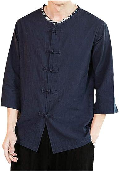 Vectry Hombres Vintage Casual Color Puro Algodón Lino Camisas De Manga Tres Cuartos Tops Blusa Hombre