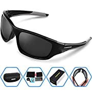 Amazon Lightning Deal 99% claimed: Torege Polarized Sports Sunglasses For Man Women Cycling Running Fishing Golf TR90 Unbreakable Frame TR011