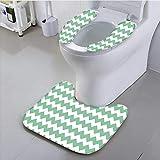 aolankaili Toilet seat Pattern Horizontal Zigzag Twisty Turns Modern Aztec Folk Inspirations White Jade Green Suit for The Toilet,
