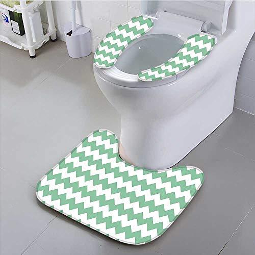 aolankaili Toilet seat Pattern Horizontal Zigzag Twisty Turns Modern Aztec Folk Inspirations White Jade Green Suit for The Toilet, by aolankaili